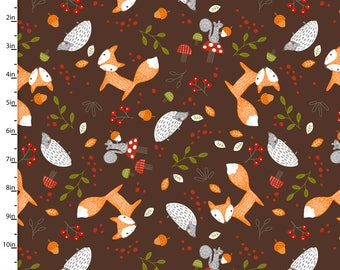 Forest Friends on Brown from 3 Wishes Fabric's Forest Friends Collection