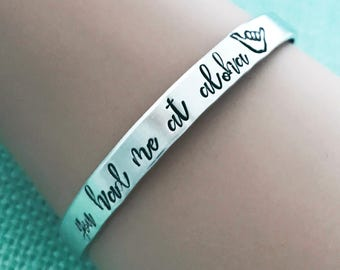 You Had Me at Aloha Hand Stamped Cuff Bracelet - Hawaiian Islands Inspired Jewelry by Eight9 Designs
