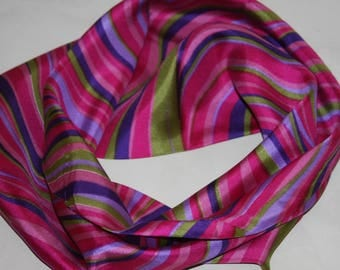 Infinity Silk Scarf - Design of Curves in Rose, Purple, Green