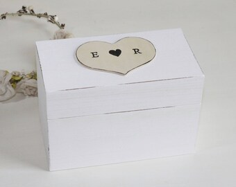 Recipe Box Shabby Chic Rustic Personalized Initials or Recipes