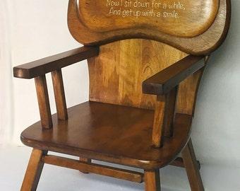 Vintage Thayer Highchair Repurposed Child Chair Oak 1950's Handpainted Verse
