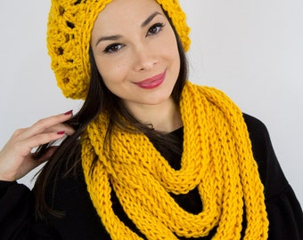 Knit necklace scarf infinity shawl yellow mustard gift for her