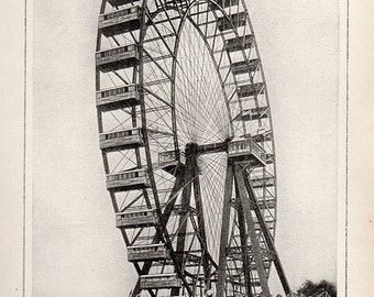 Antique Print, 1910 LONDON FERRIS WHEEL wall art vintage lithograph illustration chart