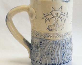 ceramic crazy cat coffee mug 16oz stoneware 16C020