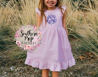 PINK Girl's Custom Seersucker Monogram Dress - Girl's Summer outfit - Monogrammed - Birthday gift - Summer Dress