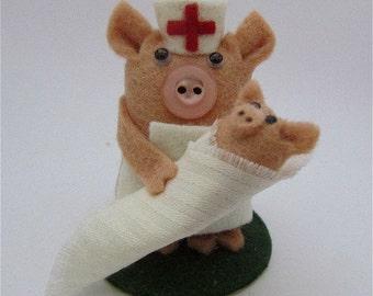 Penelope the Paediatric Nurse Pig - Felt Nurse Pig Gift - Pig Cake Topper