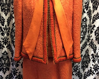 Unique Orange Lilli Ann 3 piece suit