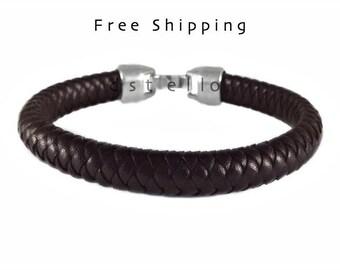 Custom made mens bracelet, men's braided bracelet, mens leather cuff, mens bangle, Gift idea, Spanish leather, brown, black, mens jewelry