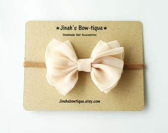 Chiffon Bow in Champagne- Headband Nylon Skinny Headband or Hair Clip