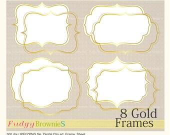 ON SALE Digital Gold frame,Gold Bracket Frame clipart, digital scrapbooking frames gold A-04 ,  Instant download
