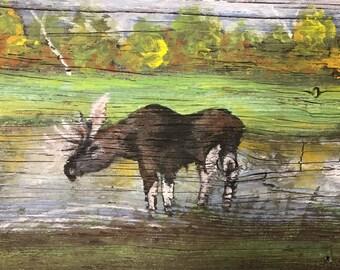 "Hand Painted Moose on Barnwood  17 1/2"" x 7 1/2"""