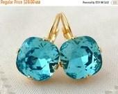 SALE Aqua blue sky blue teal  Swarovski crystal drop earrings, Turquoise drop earrings, Bridesmaids gift, Bridal earrings,Dangle earrings, G