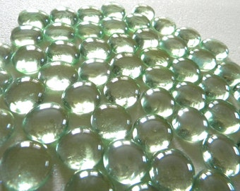 50 Glass Gems - Light/Pale GREEN - Mosaic/Wedding/Floral Displays - Half Marbles/Cabochons/Glass Nuggets