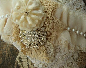 Vintage Lace Tattered Heart with Vintage Velvet Millinery Flower and Vintage Rhinestone Accent