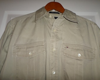 """Father's day Tommy Hilfiger Shirt Size Small 40"""" Chest Tan Long Sleeve Solid 100% Cotton"""