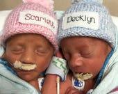 PREEMIE, Newborn, hat, baby shower, baby announcement, NICU, Monogram, personalized, baby boy, baby girl, photo prop, hand knit hat, gift