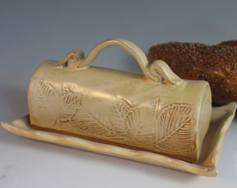 Ceramic Butter Dish - Pottery Butter Dish with lid - yellow with leaf imprint