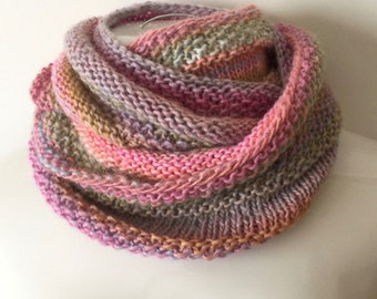 Versatile pastel infinity scarf infinity cowl, wool blend infinity scarf, winter cowl, hand knitted pastel scarf
