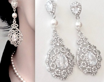Chandelier earrings, Pearl chandelier earrings,  Brides earrings, Pearl wedding earrings, Crystal earrings, Victorian ~NINA