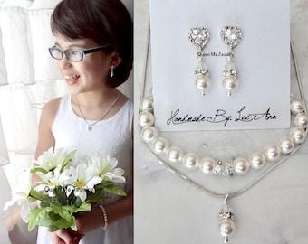 Flower girl pearl jewelry set, Junior bridesmaids pearl jewelry set,Communion jewelry set,Children's pearl jewelry set,Girls pearl set, GIFT