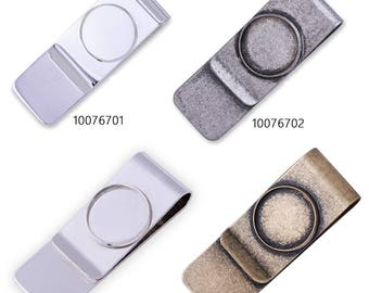 5 Stainless Steel money clip with 18 mm Bezel Money Clip Blank Money Clips for Men 100767