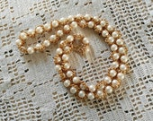 Retro Long Pearl + Gold Tone Necklace by Sarah Coventry - Vintage Fancy Fine Costume Jewelry for Her, Signed Pearl Necklace, Retro Necklaces