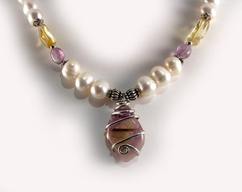 Ametrine and Large Pearl Sterling Necklace with Amethyst and Citrine