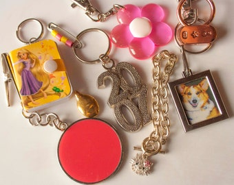 Keychain & Charm Crafting Supplies, Mixed Lot of 8 Items, Hello Kitty Charm Bracelet