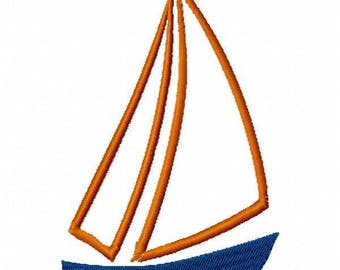 Sailboat Machine Embroidery Design - Instant Download