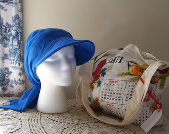 Chemo or Cancer Patient Gift, Tote Bag from Vintage Calendar and Baseball Style Chemotherapy Cap in Blue Knit for Women, Ships ASAP