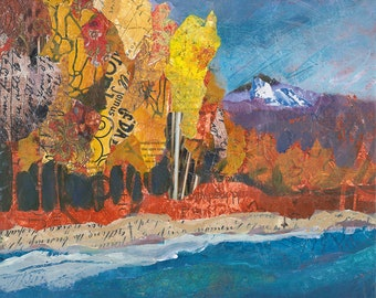 Mountain Lake and Trees Original Mixed Media Painting
