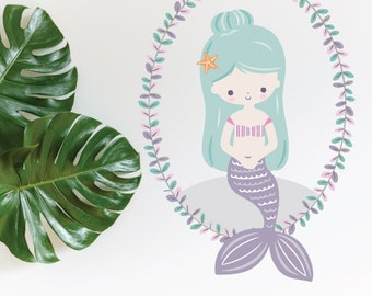 Mermaid Lavender With Wreath Removable Wall Sticker | LSB0263CLR-LCN