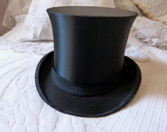 Antique French silk collapsible top hat Gibus black opera steampunk top hat antique victorian Gothic mens top hat w gilded stamps and bow