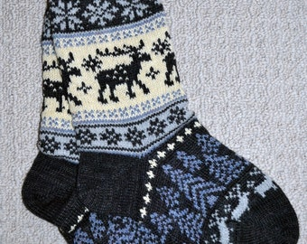 Wool Socks, Norwegian Scandinavian folk art, hand crafted 100% Wool, Fair Isle Reindeer, size XLarge