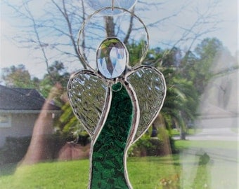 Forest Green English Muffle Stained Glass Angel Ornament/Suncatcher/Gift Tag - Personalized Hand Stamped Tags now Available - New Style