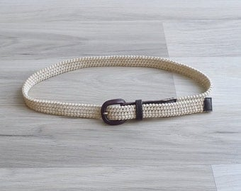 Vintage 80's Cream Braided Rope Belt XS S M