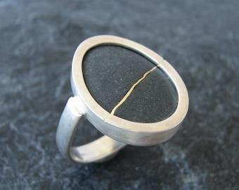 Beach Stone Ring Size 7.5 Sea Stone Ring Jewelry