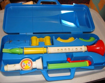 Fisher Price Crazy Combo Horn Set in Case, 1984 Toy Horn, Missing 1 Piece