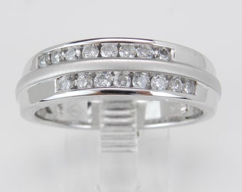 Mens Diamond Wedding Band Unique Anniversary Ring White Gold Size 10.25