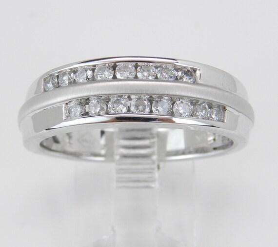 Mens Diamond Wedding Band Unique Anniversary Ring White Gold Size 10.25
