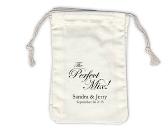 The Perfect Mix Personalized Cotton Bags for Wedding Favors in Black - Ivory Fabric Drawstring Bags - Set of 12 (1020)