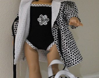 Dots and Stripes swimsuit, cover-up, bag and sunglasses for your 18 inch doll