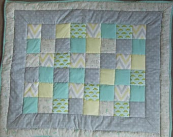 Babies Quilted Patchwork Play Matt, Cot Quilt, Lemon, Turquoise, White and Grey, Unisex, Baby Shower, Lap Quilt, Snuggle Blanket