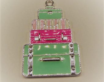 49mm*34mm, Vintage colored Enamel Suitcase Pendant, P37