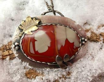 Noreena jasper, leaf necklace, artisan necklace, silversmith necklace
