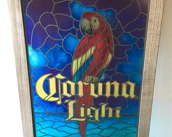 SALE Corona Light Faux Stained Glass Parrot Beer Bar Sign