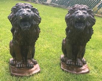 Pair of Antique Lion Statues, Lion Porch Statues, Concrete Lion Statues
