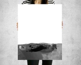 penguin artwork, penguin wall decor, penguin print, penguin, minimalist, black and white, animal, white space print, wall decor, wall art
