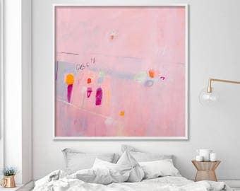 Whimsical fun large pink giclee print from Original Painting, Large Wall Art, modern abstract art print by Duealberi