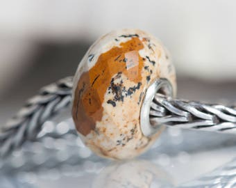 Gemstone Natural Picture Jasper  faceted bead fits charm bracelets small core